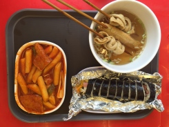 Dukboki, oden, kimbap street food. Korean food is SPICY. Like much spicer than the korean places in America.