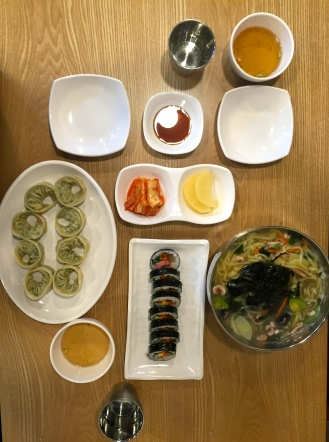 Dinner was bulgogi dumplings, kimbap, and kalguksu (칼국수) Yummy.