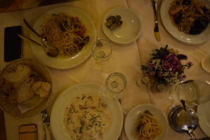 Our AMAZING food. I ordered spinach, mushroom ravioli, Mom ordered seafood pasta, and Daniel ordered homemade seafood pasta