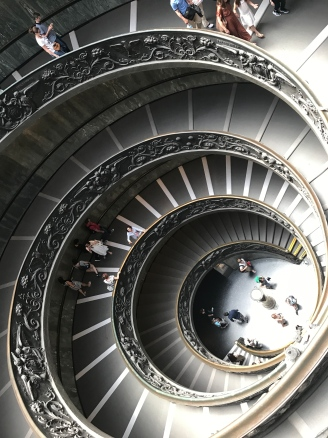 Swirly steps as soon as you enter Vatican. One set goes up, and one set goes down, weaving around each other.
